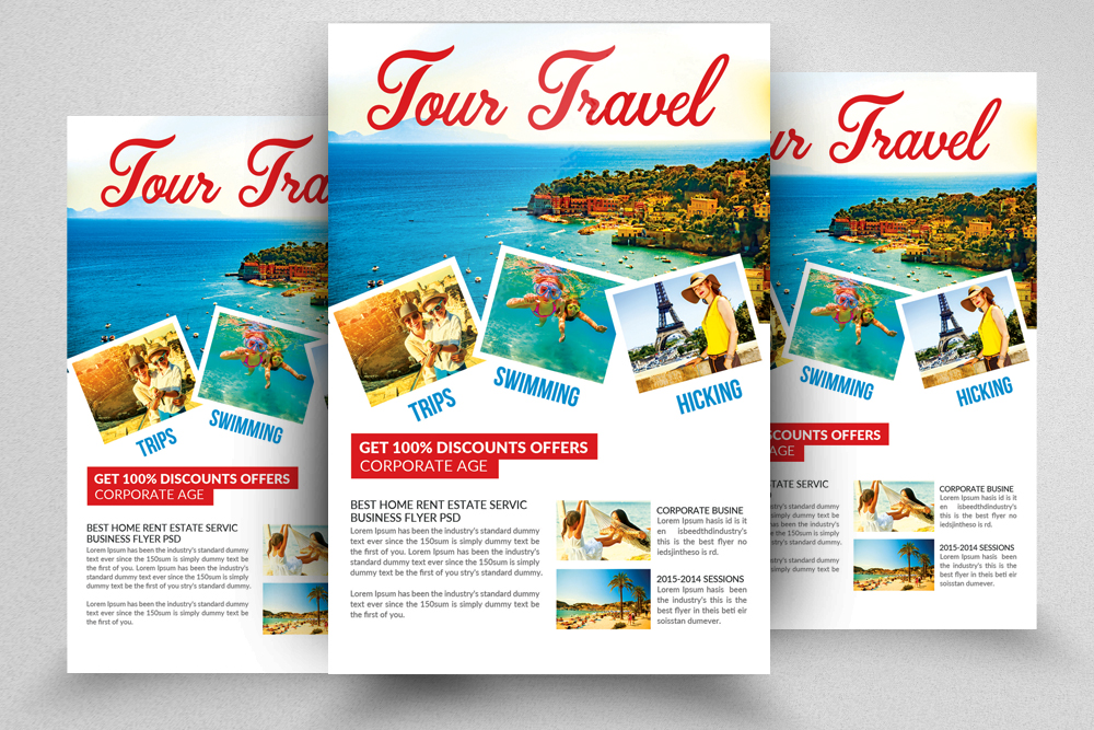 10 Tour Travel Agency Flyer Template Bundle example image 6