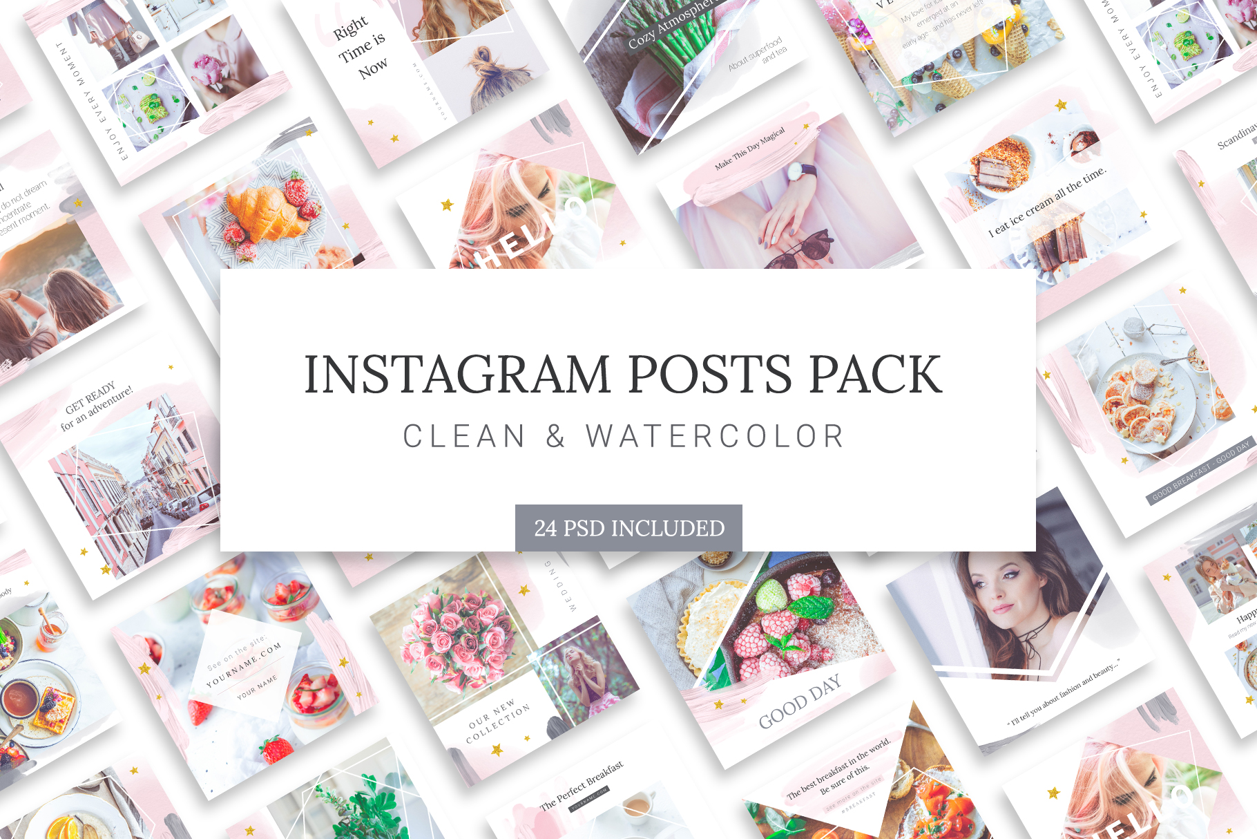 Instagram Watercolor Posts Pack example image 1