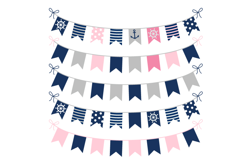 Cute nautical bunting clipart, Girl birthday party banner example image 1