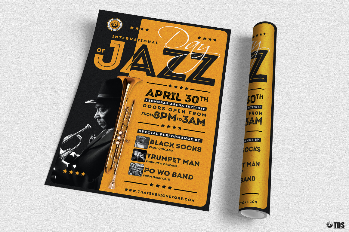 Jazz Day Flyer Template V1 example image 3
