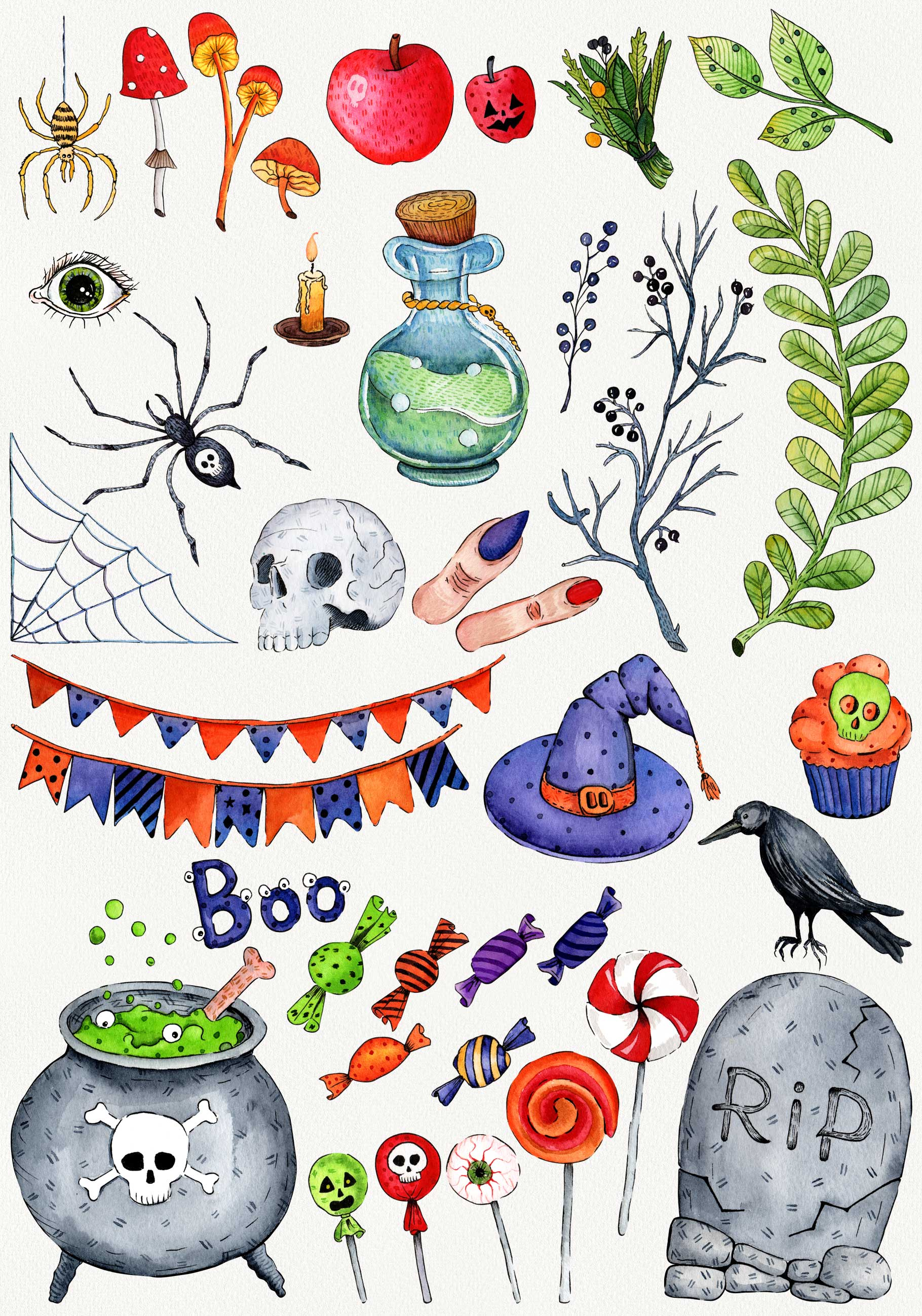 Watercolor set for Halloween example image 3