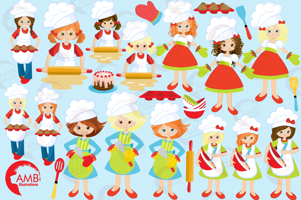 Baking clipart, cooking clipart, Girl chefs clipart, graphics and illustrations AMB-1102 example image 5