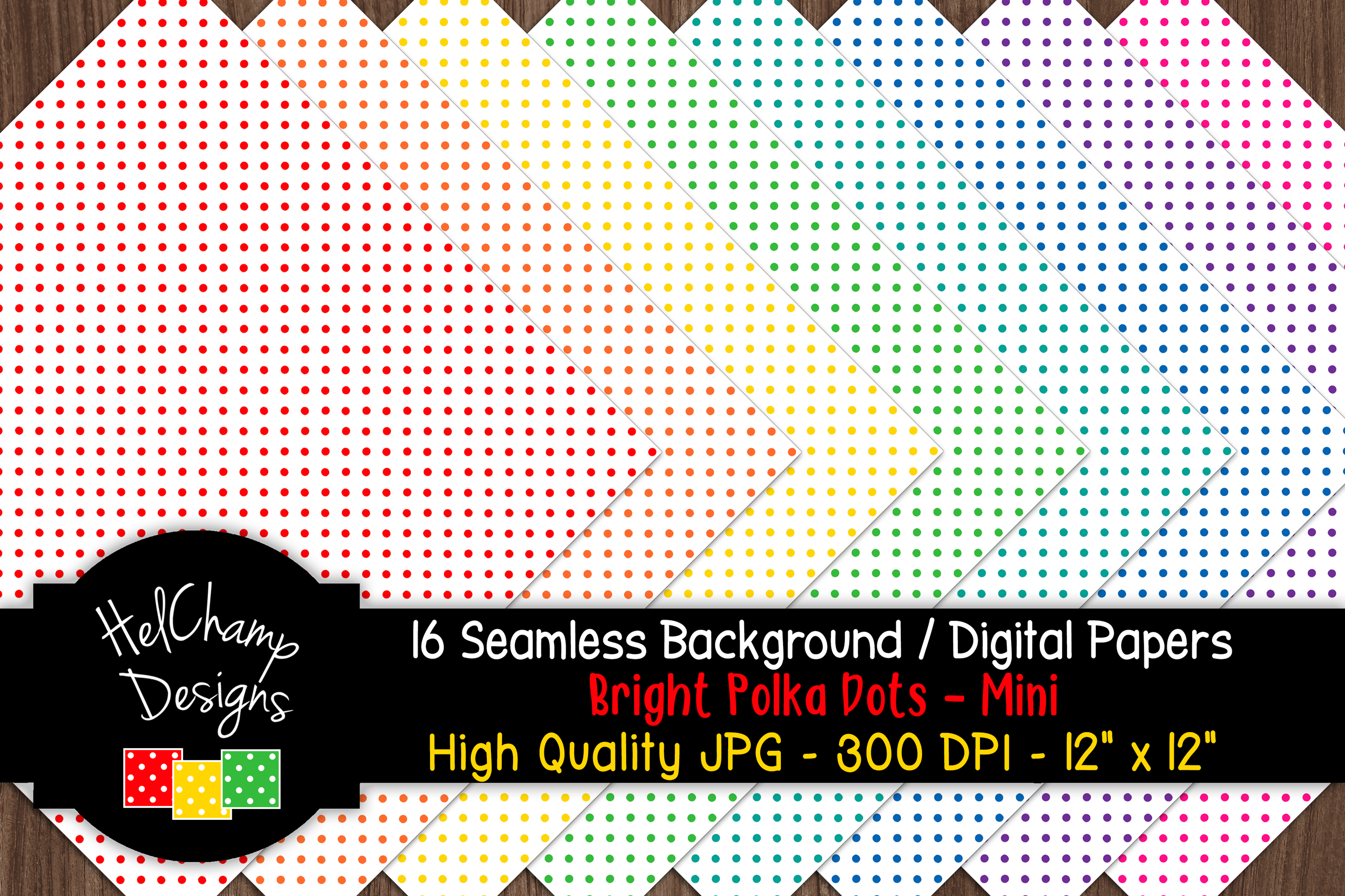 16 seamless Digital Papers - Bright Polka Dots Mini - HC017 example image 6