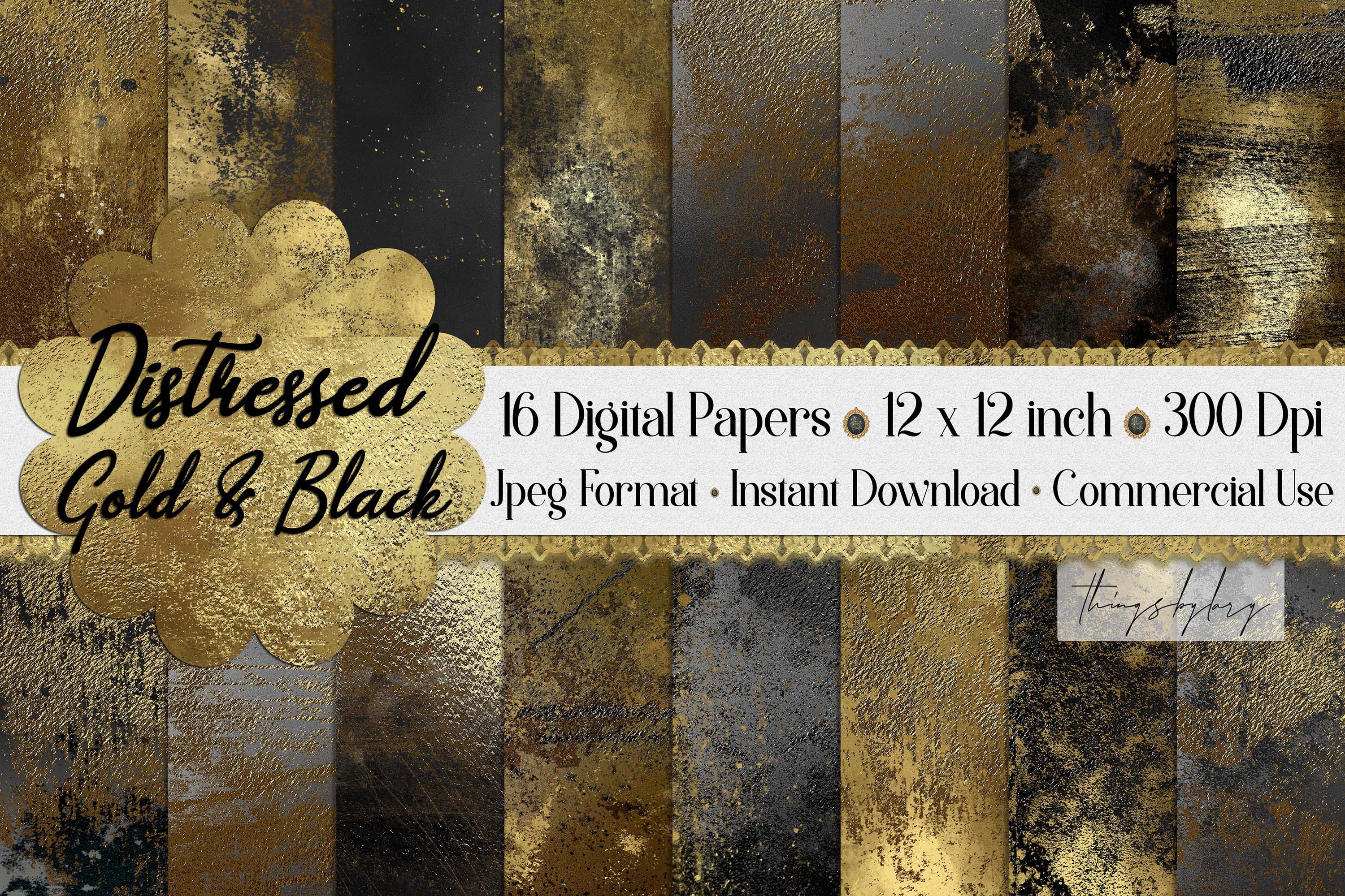 16 Distressed Metallic Gold Foil and Black Digital Papers example image 1