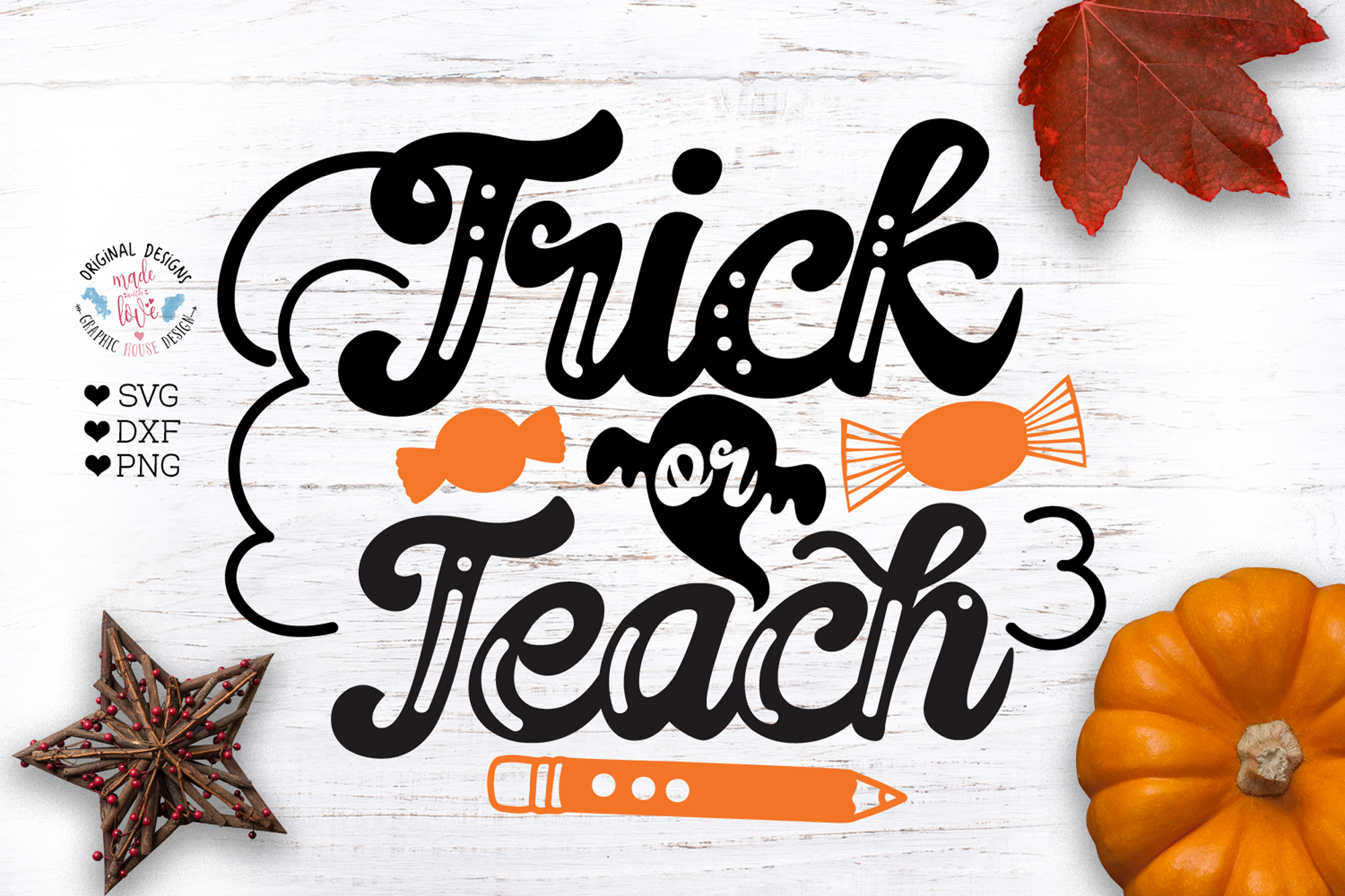 Trick or Teach - Funny Halloween Cut File example image 1