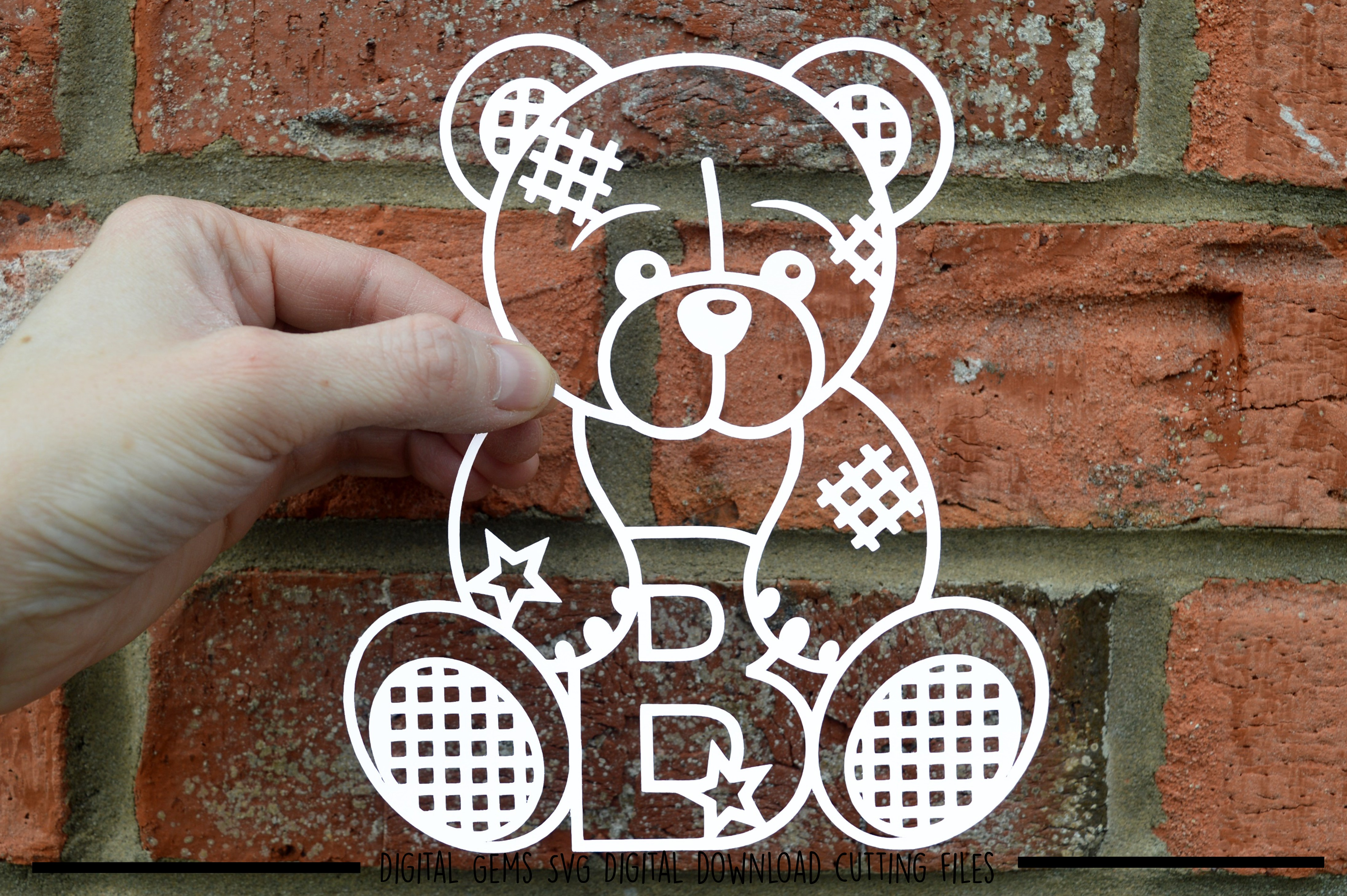 Alphabet teddy bear paper cuts SVG / DXF / EPS files example image 3