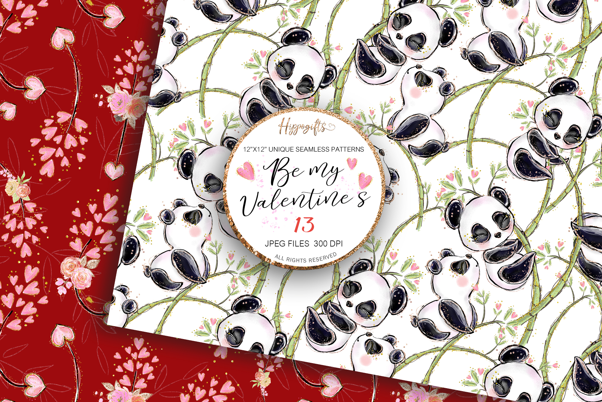 Valentine's patterns,Animal love,Love is in the air example image 5