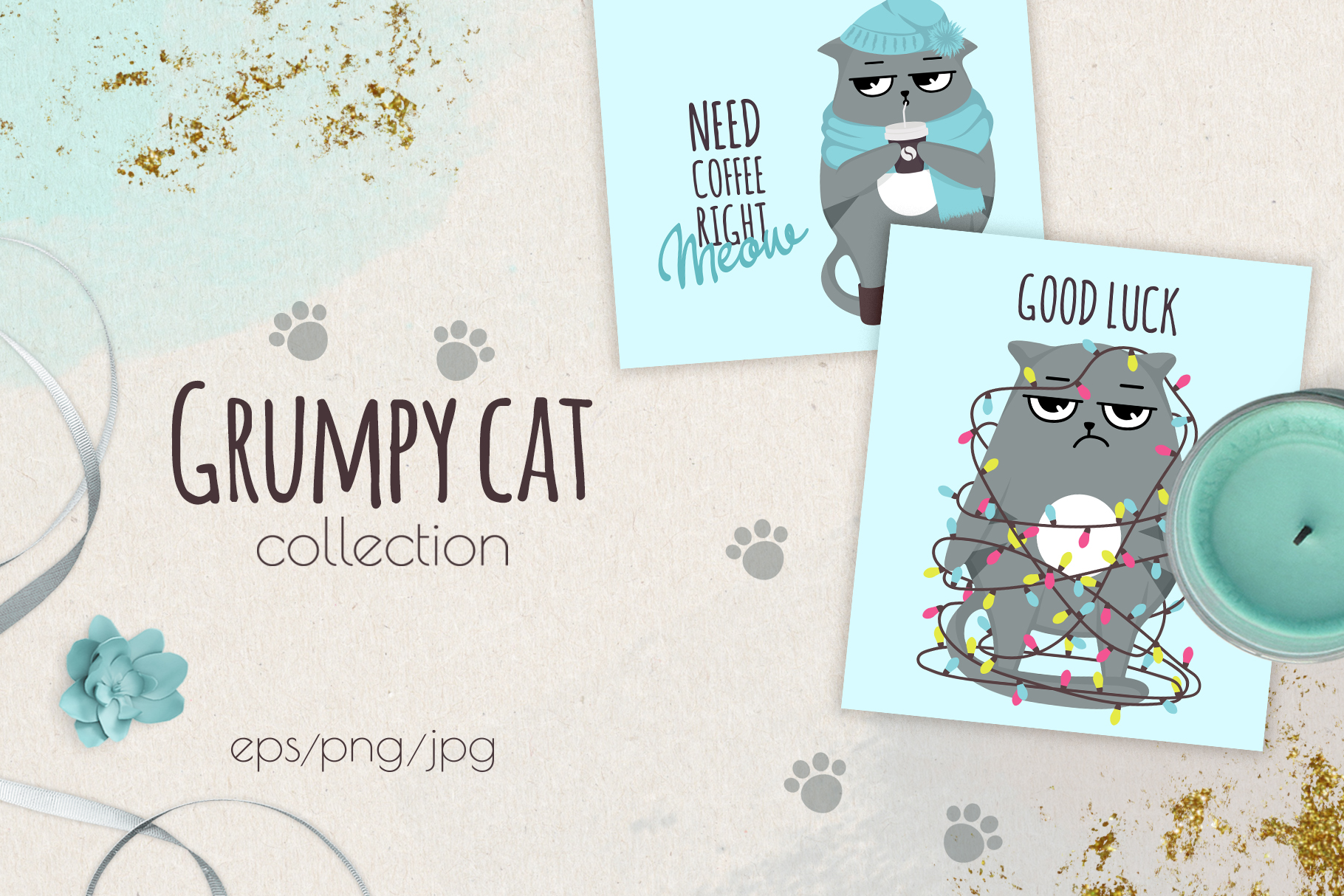 Grumpy cats vector collection example image 1