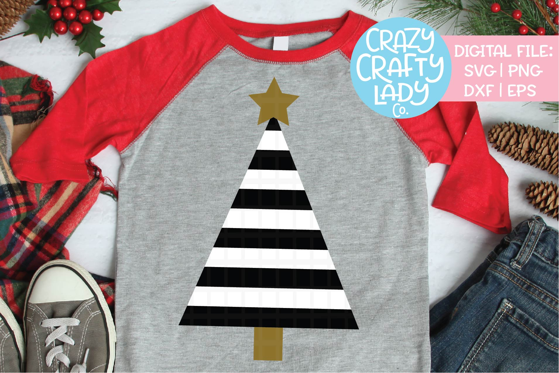 Striped Christmas Tree SVG DXF EPS PNG Cut File example image 2