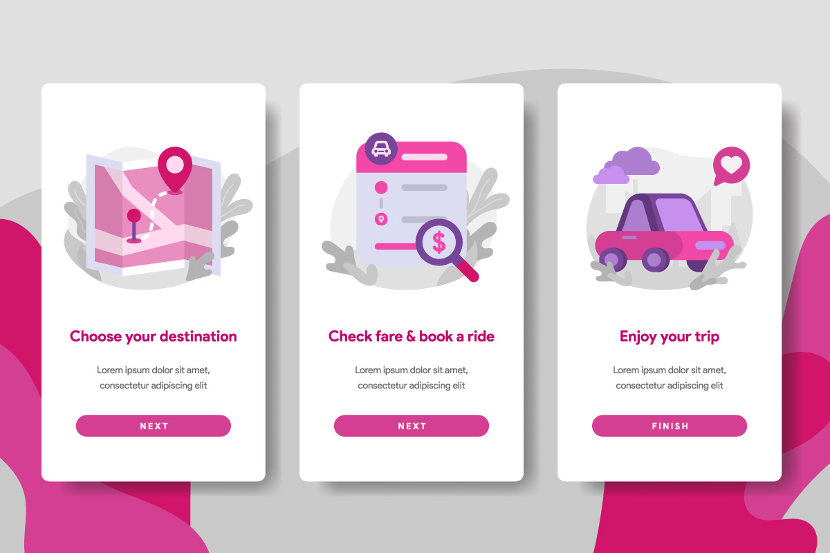 Onboarding screen page template of Online Transportation example image 1