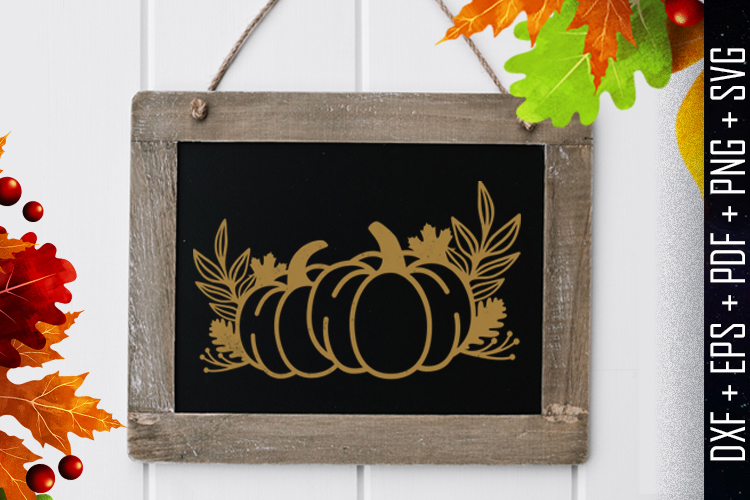 Pumpkins Wreath Silhouette Vector DXF/EPS/PDF/PNG/SVG example image 1