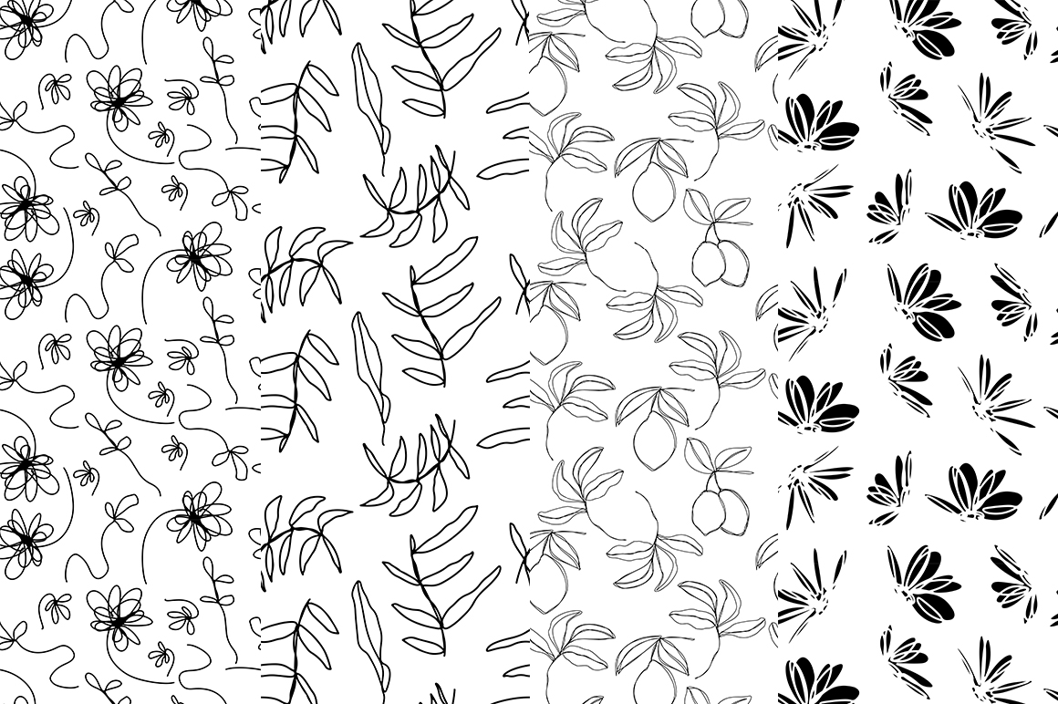 37 monochrome patterns. Hand drawn seamless backgrounds. example image 5