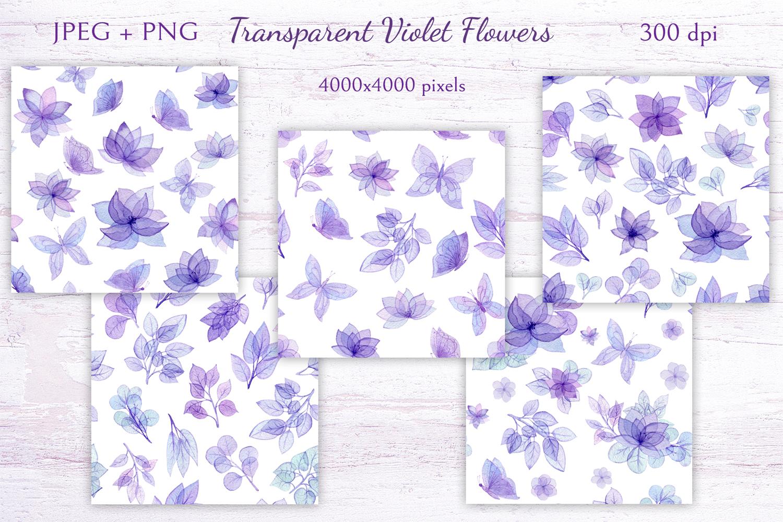 Transparent Violet Flowers example image 6