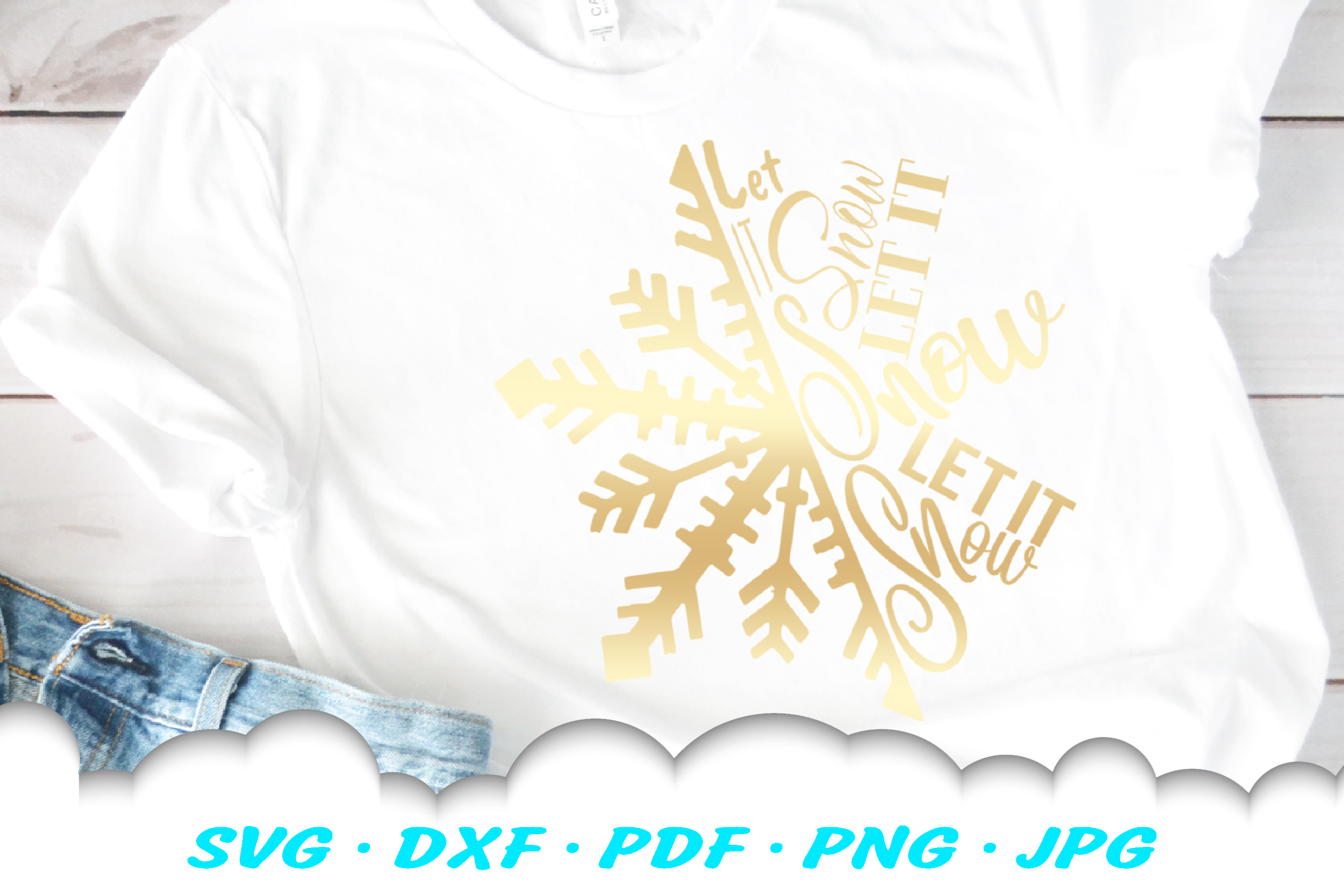 Christmas Snowflake Let It Snow SVG DXF Cut Files example image 3