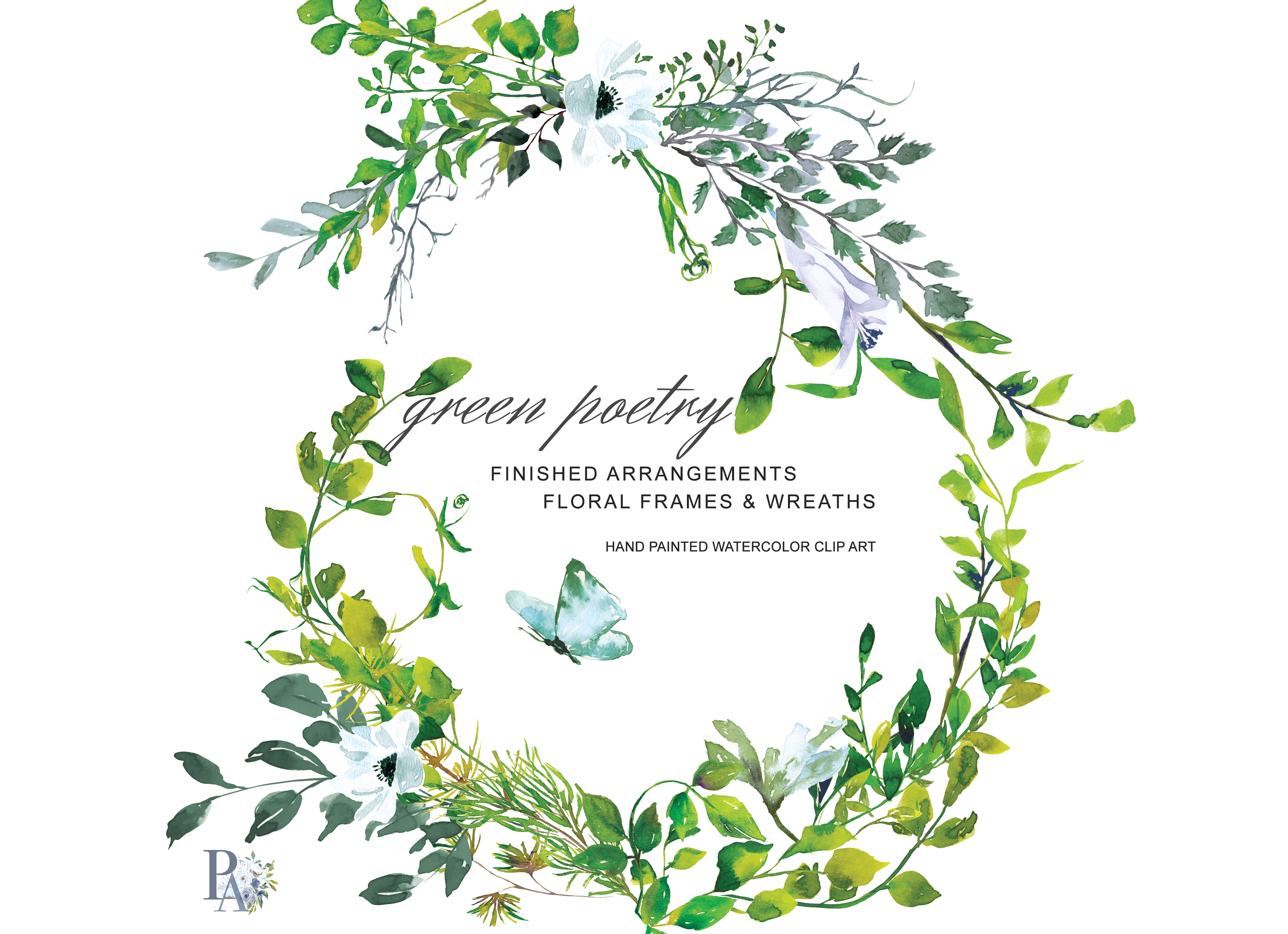 Hand Painted Watercolor Greenery Clipart Example Image 1