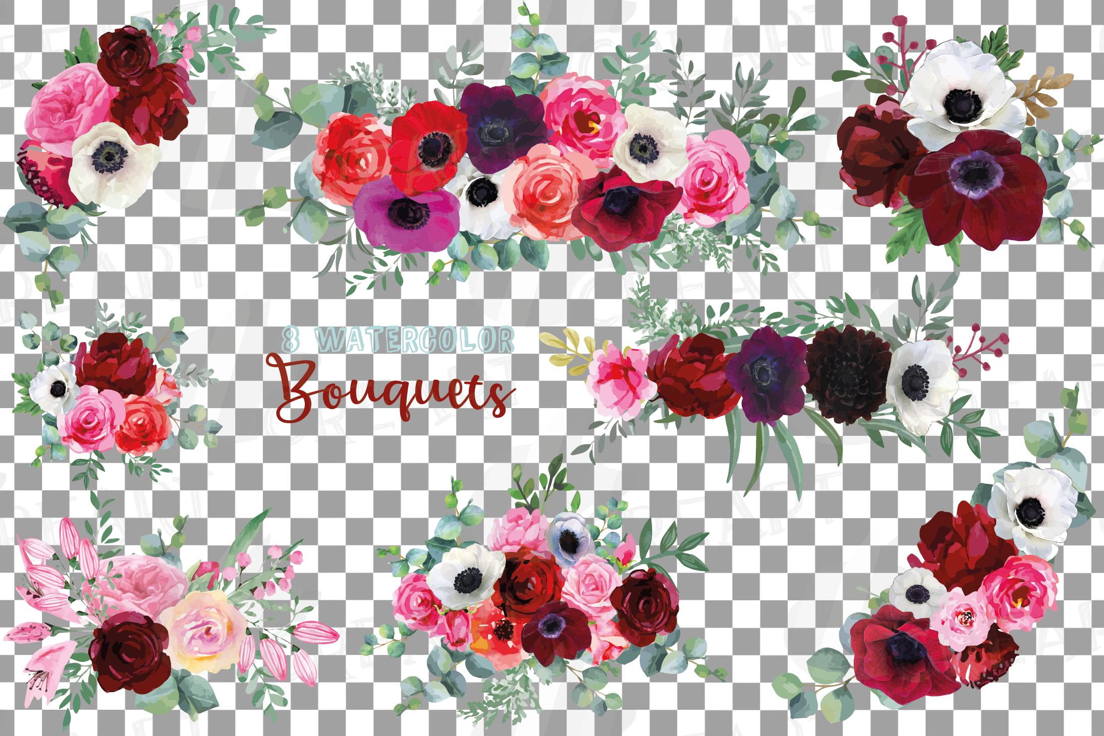 Watercolor elegant floral bouquets, rose, anemone decoration example image 2