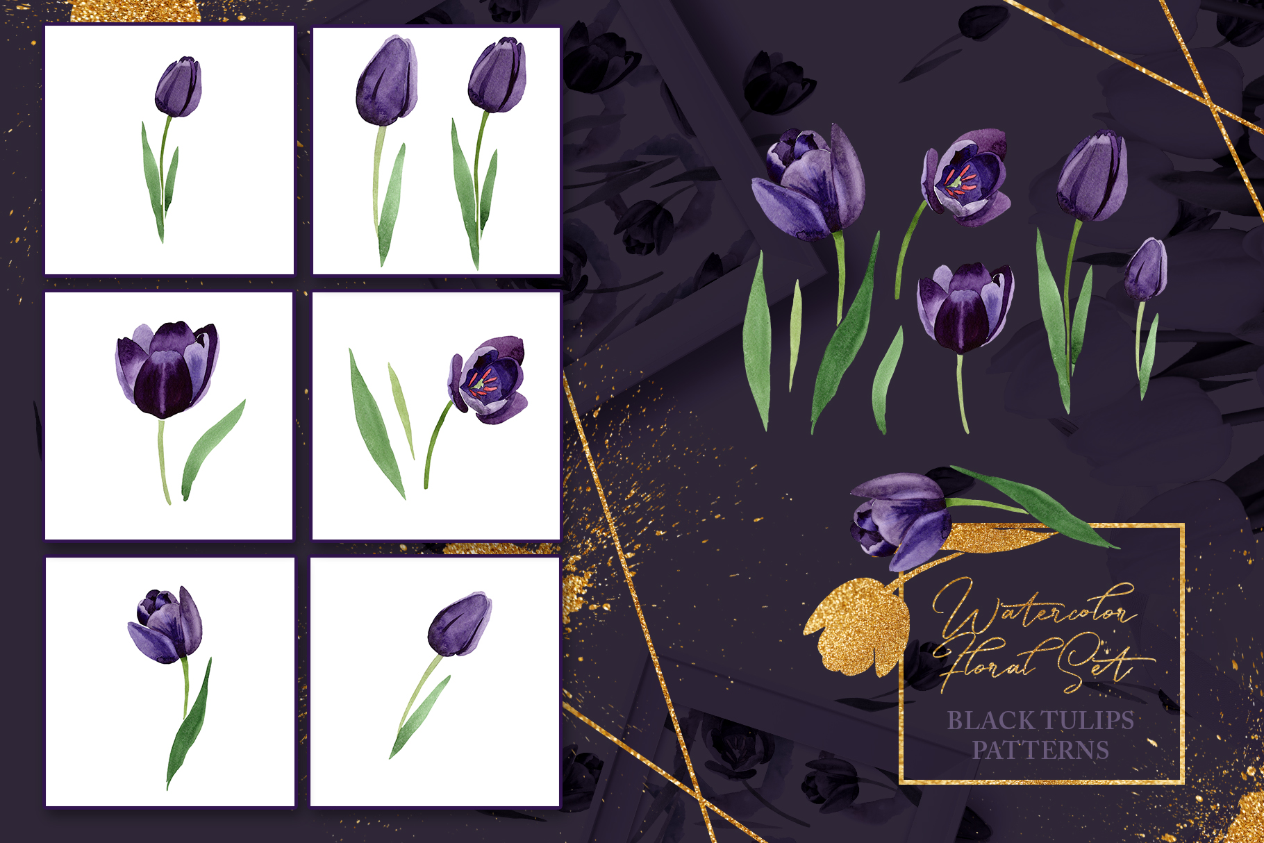 Wonderful black tulips PNG watercolor flower set example image 5