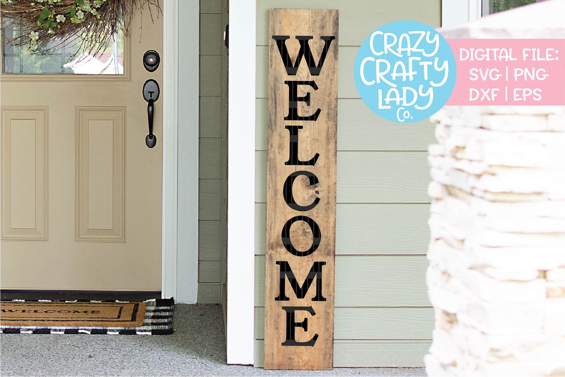 Welcome Porch Sign SVG DXF EPS PNG Cut File Bundle example image 2