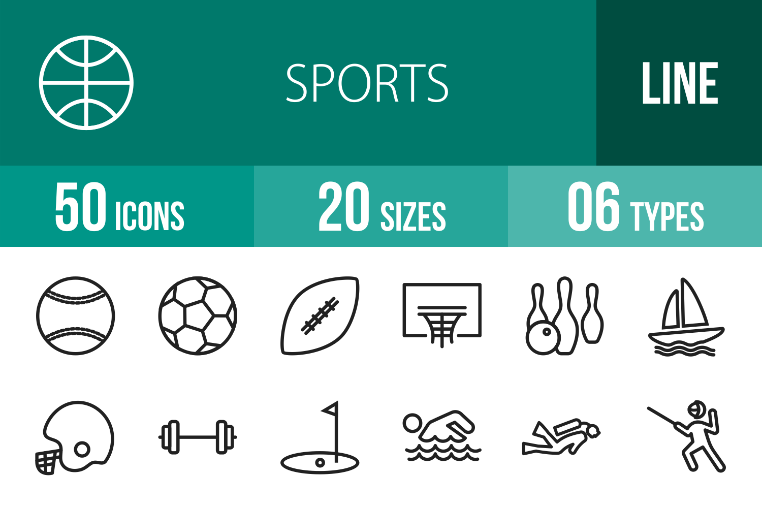 50 Sports Line Icons example image 1