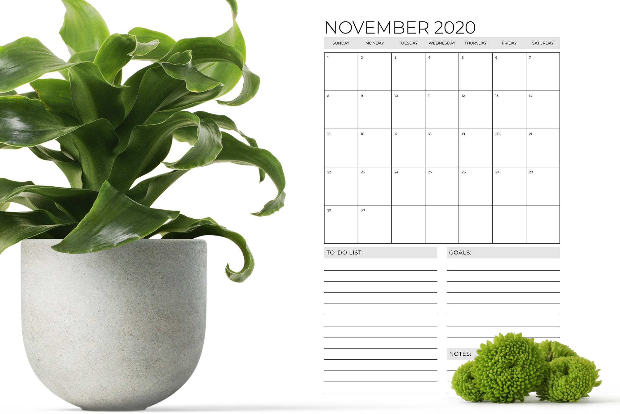 Vertical 11 x 17 Inch 2020 Calendar Template example image 7