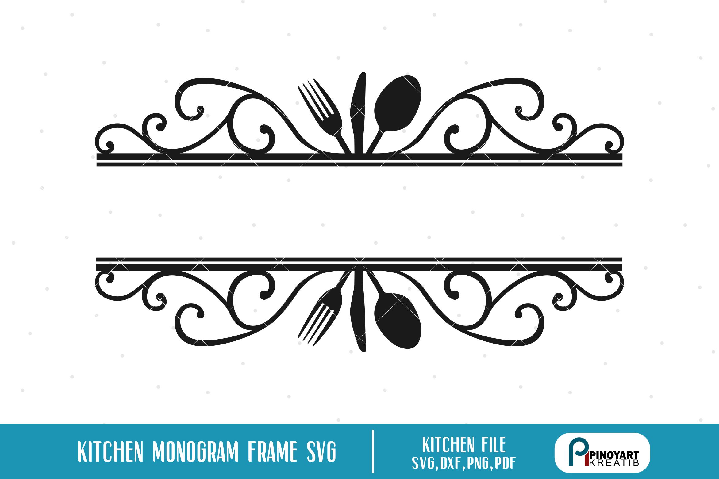 Kitchen Split Monogram Frame svg - a kitchen monogram ...