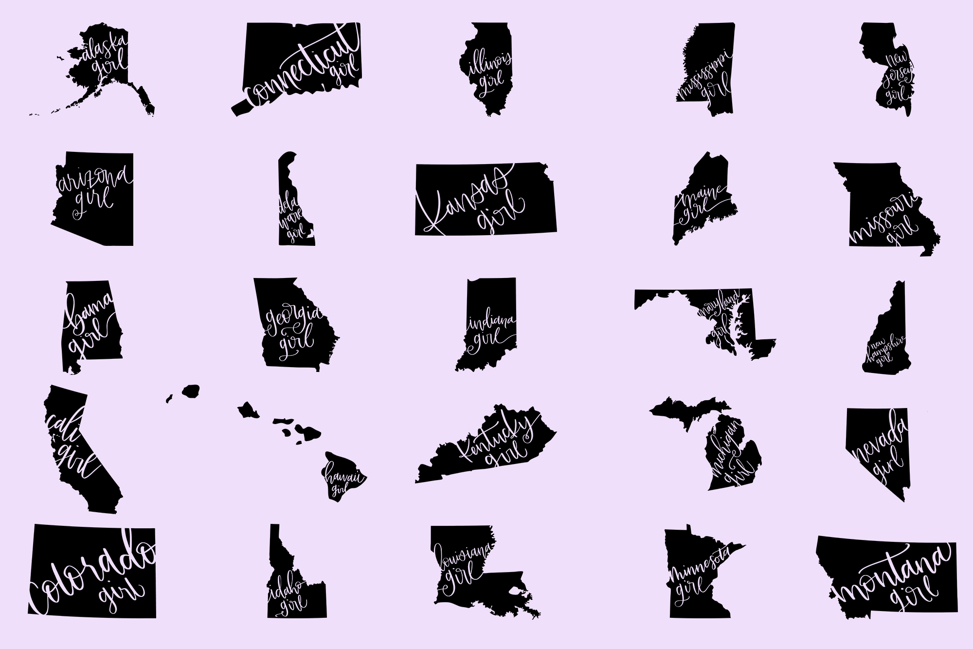 The US State Girl SVG Bundle example image 2