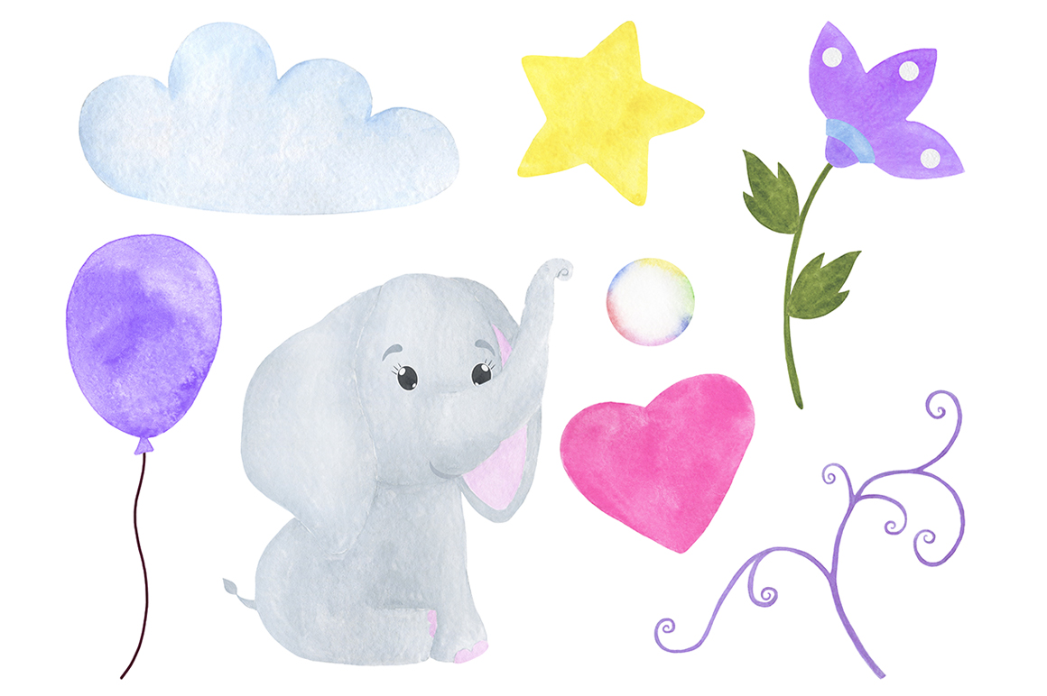 Set of illustrations of a cute little watercolor elephant example image 4