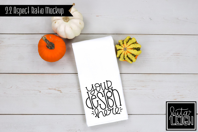 Flour Sack Tea Towel Fall Pumpkin Mockup example image 1