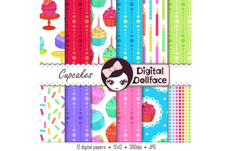 Cupcake Scrapbook Patterns / Rainbow Treats Digital Paper example image 2