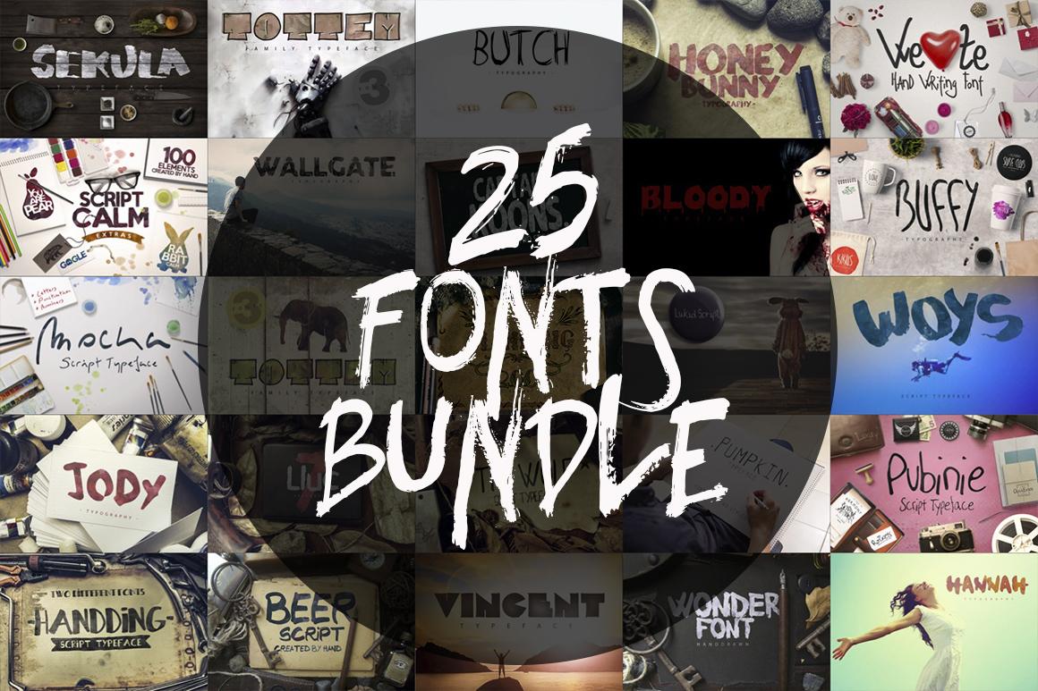 25 Fonts Bundle example image 1