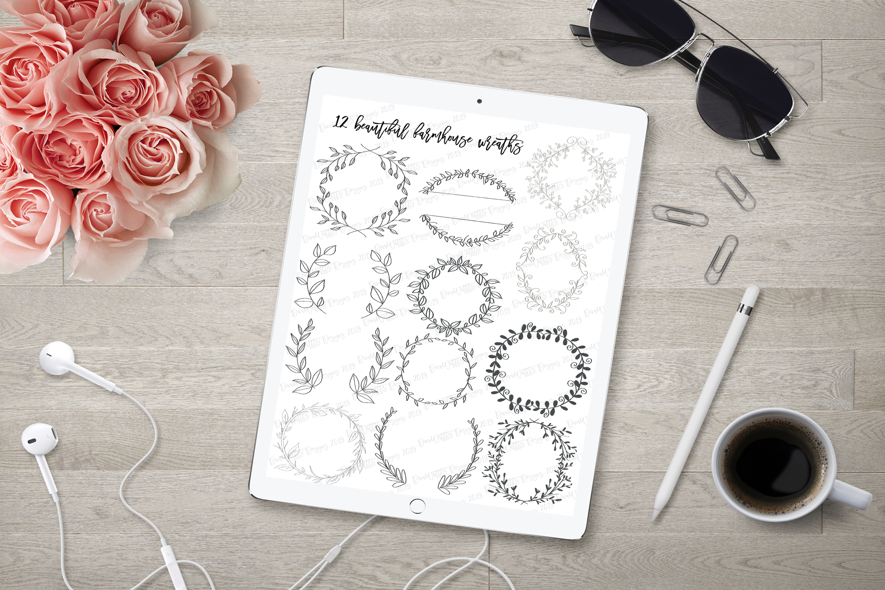 Procreate Farmhouse Wreath Bundle of 12 Stamps and Bonus example image 2