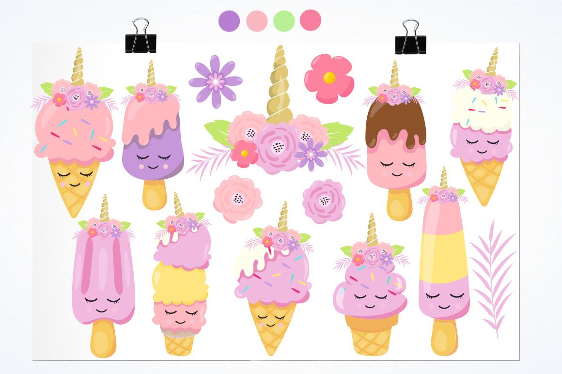 Ice Cream Unicorn graphics and illustrations example image 2
