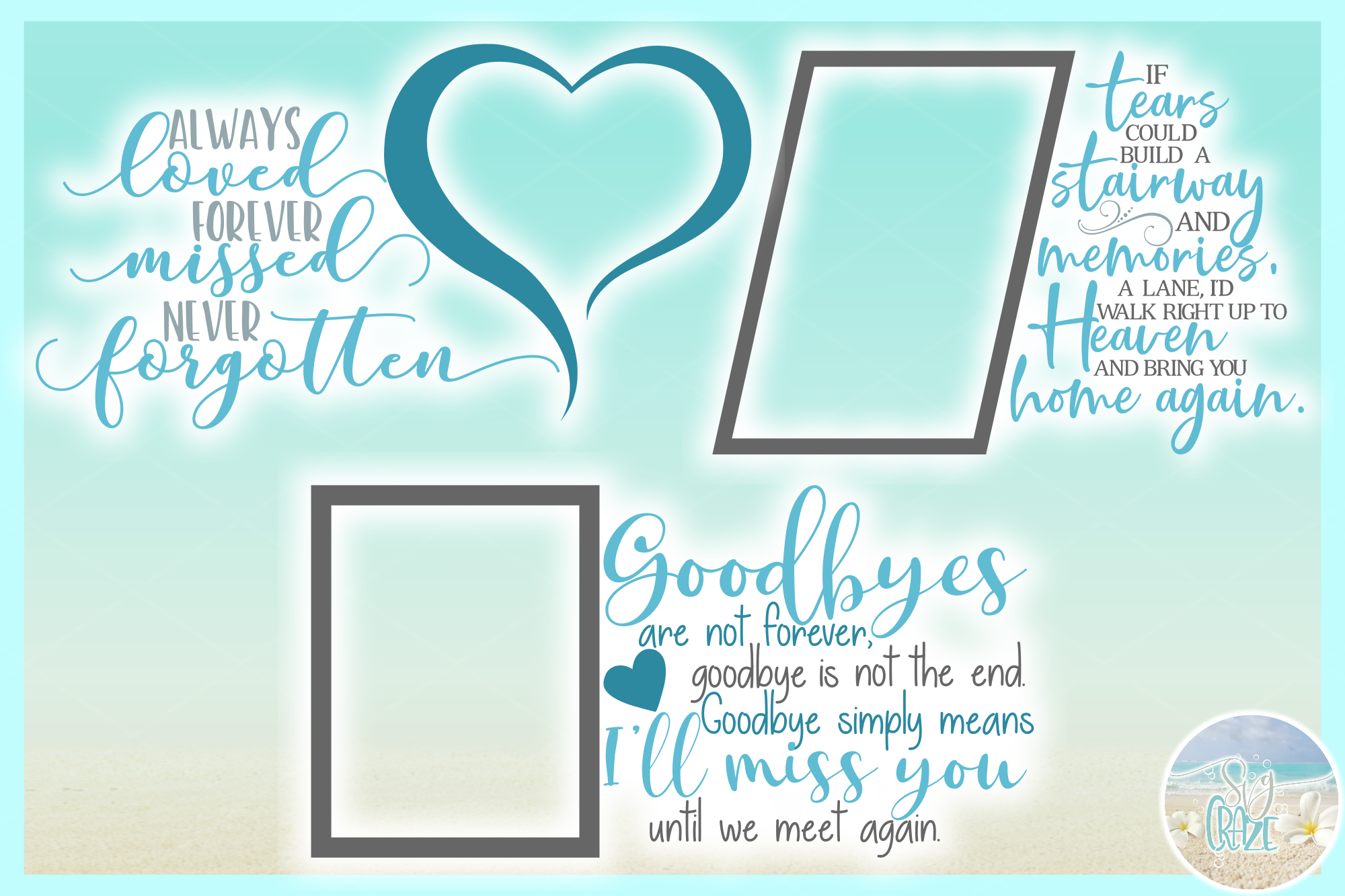 In Loving Memory Memorial Quote Bundle SVG DXF EPS PNG PDF example image 8
