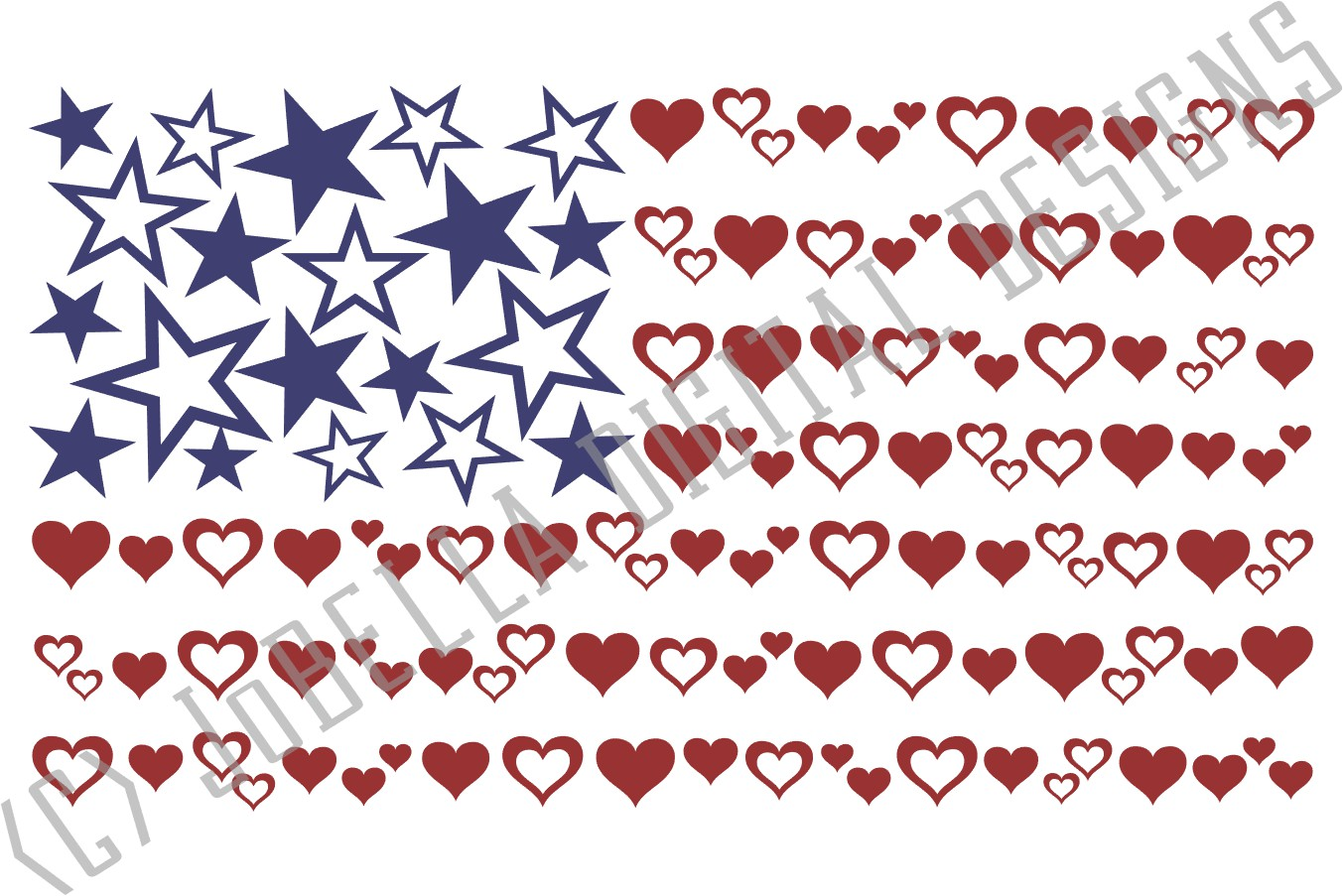 Hearts & Stars American Flag SVG & July 4th Sublimation PNG example image 4