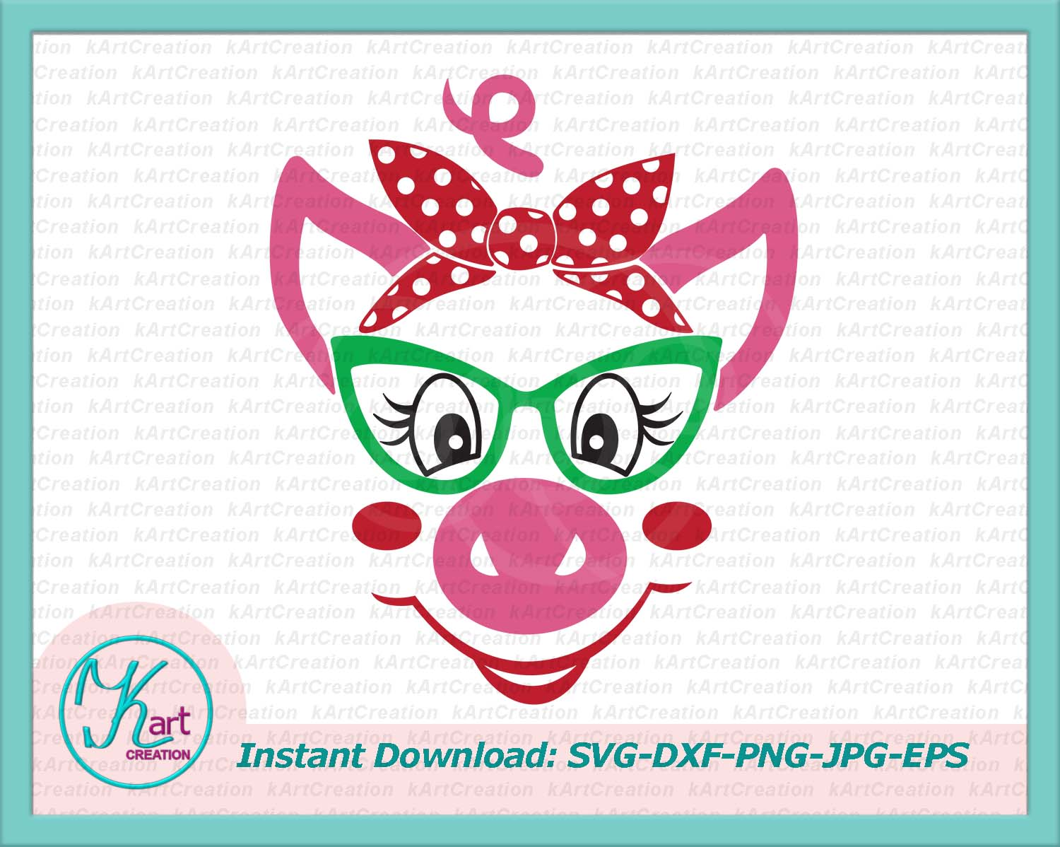 pig face with glasses, pig with bandana svg dxf file png example image 1