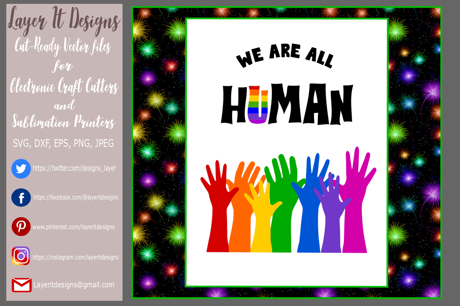 We are all Human/ Pride design Files example image 3