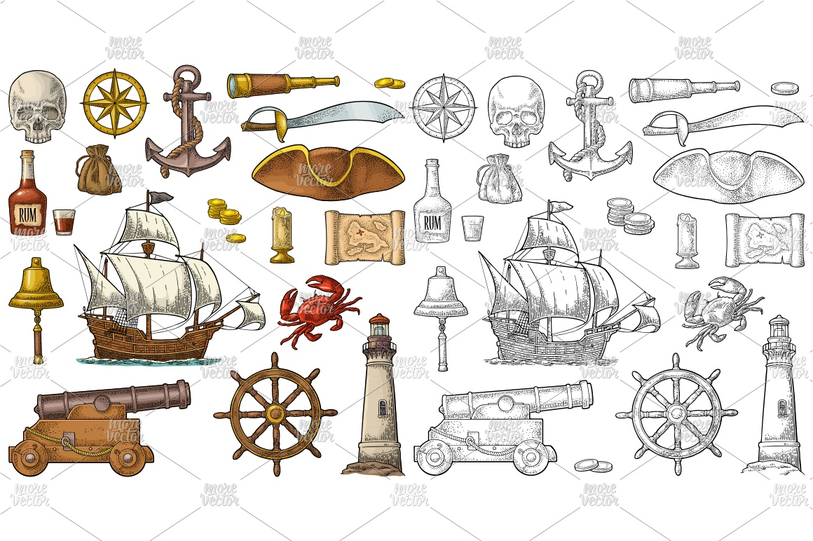 Set pirate adventure. Vector color vintage engraving example image 1