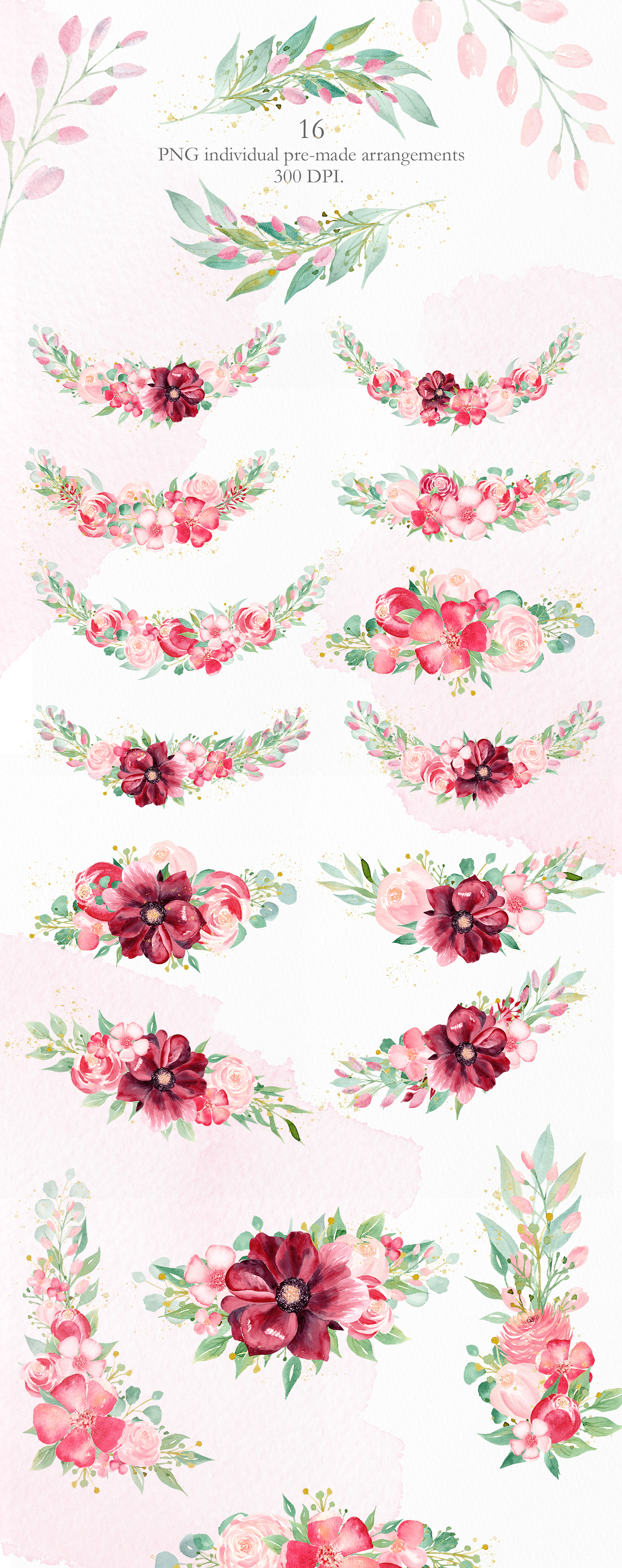 Watercolor Burgundy Floral Clipart Collection. example image 11