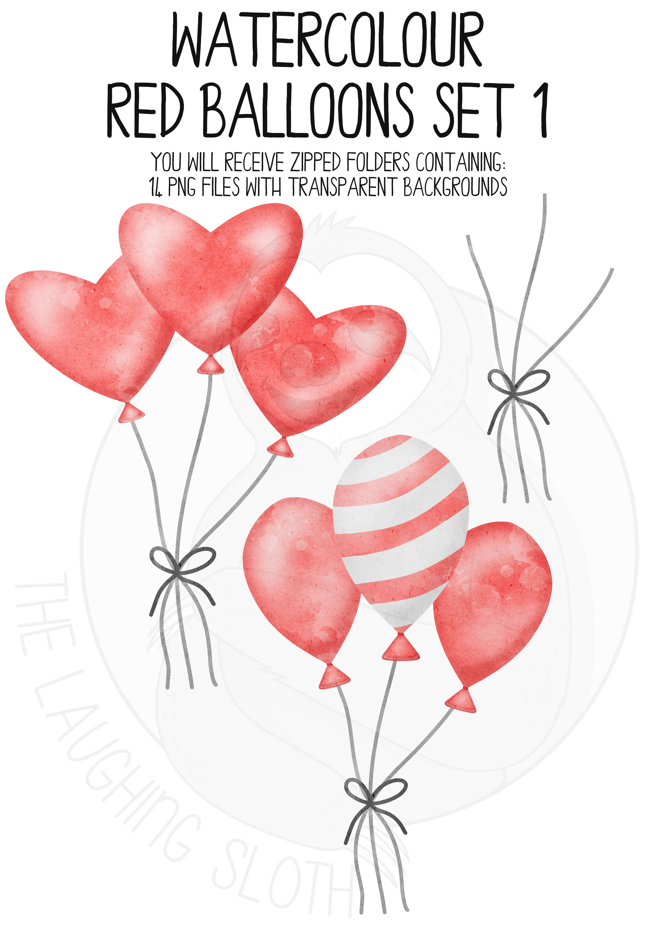 Red Watercolor Balloon Clipart Set example image 5