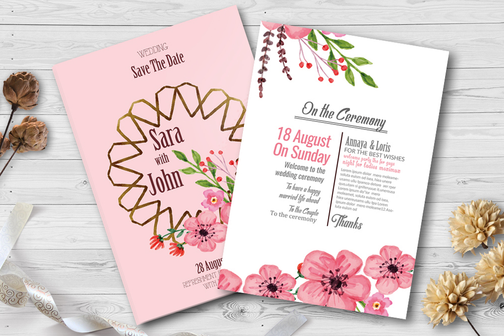 Double Sided Floral Wedding Invites example image 1