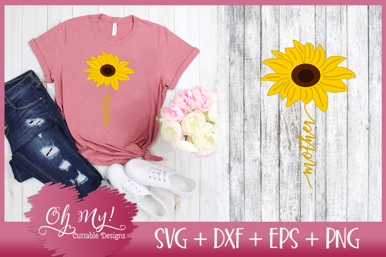 Mother Sunflower - SVG EPS DXF PNG Cutting File example image 3