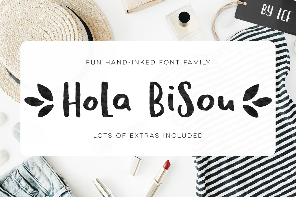 Hola Bisou - Fun, quirky inky font example image 1