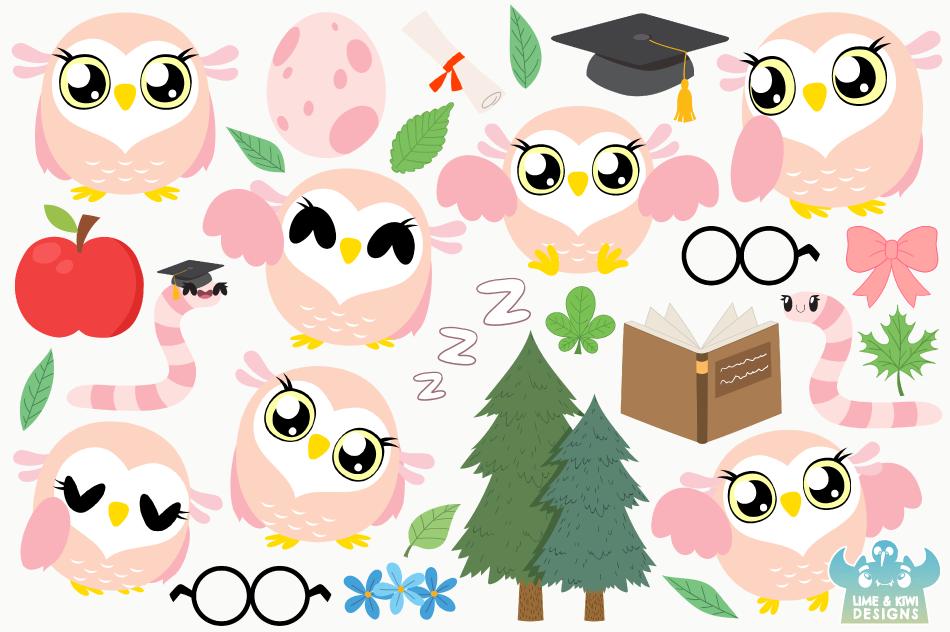 Owl Girls Clipart, Instant Download Vector Art example image 2