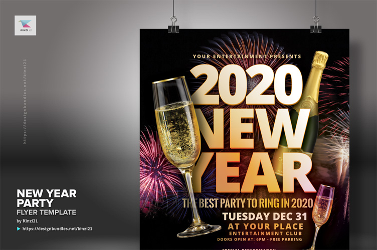 New Year Party Flyer Template example image 3