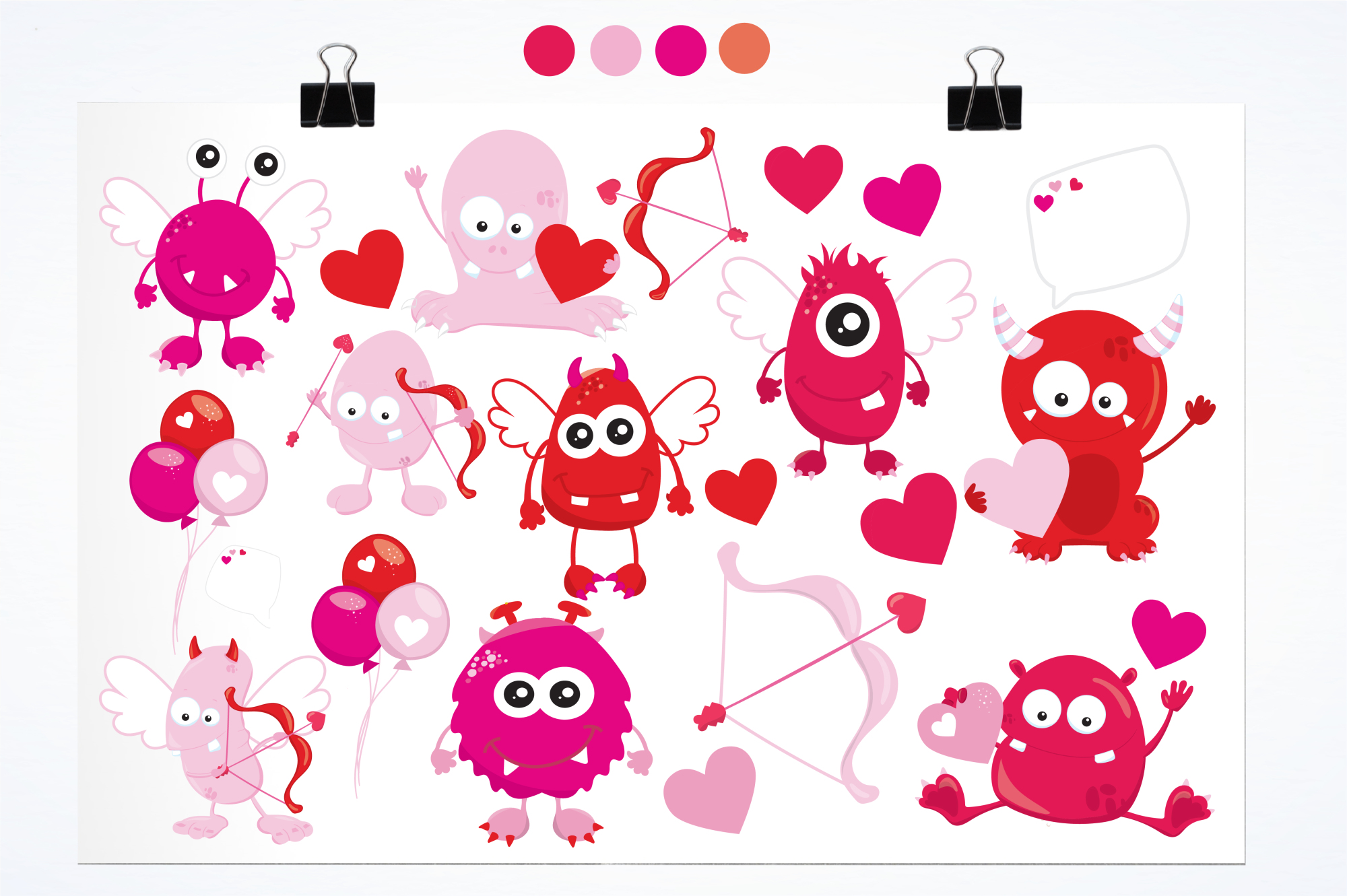 Valentine Monsters graphics and illustrations example image 2