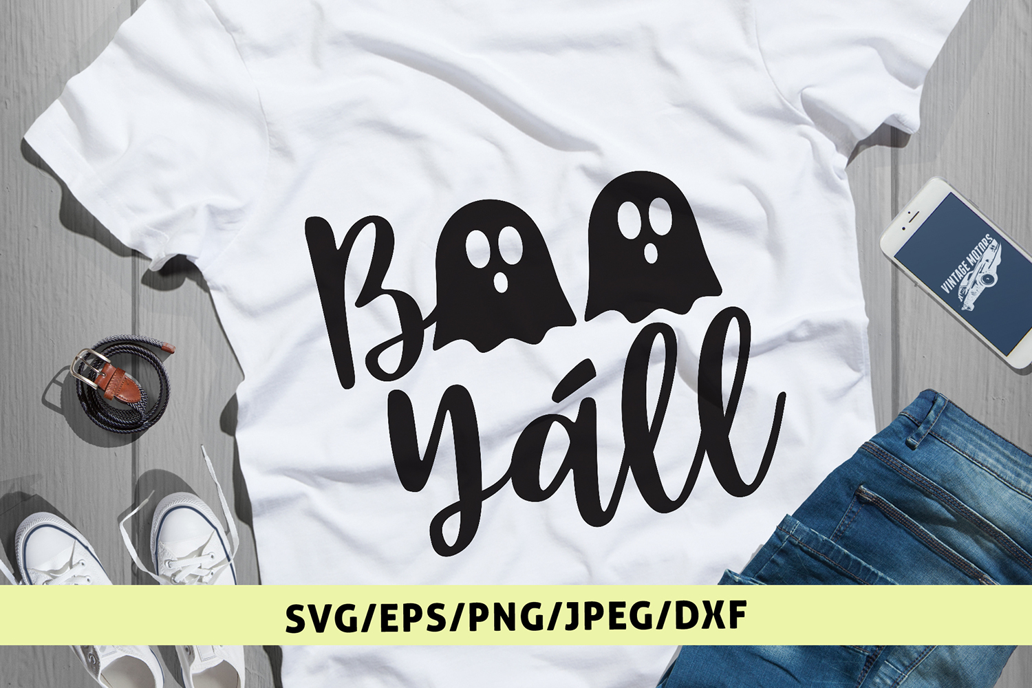 Boo Yall - Halloween SVG EPS DXF PNG Cutting Files example image 1