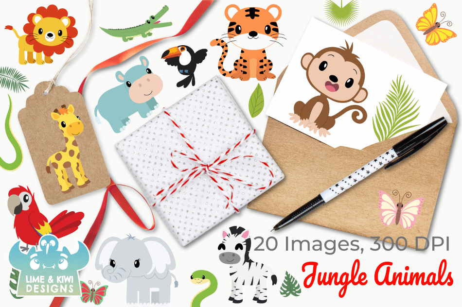 Jungle Animals Clipart, Instant Download Vector Art example image 4