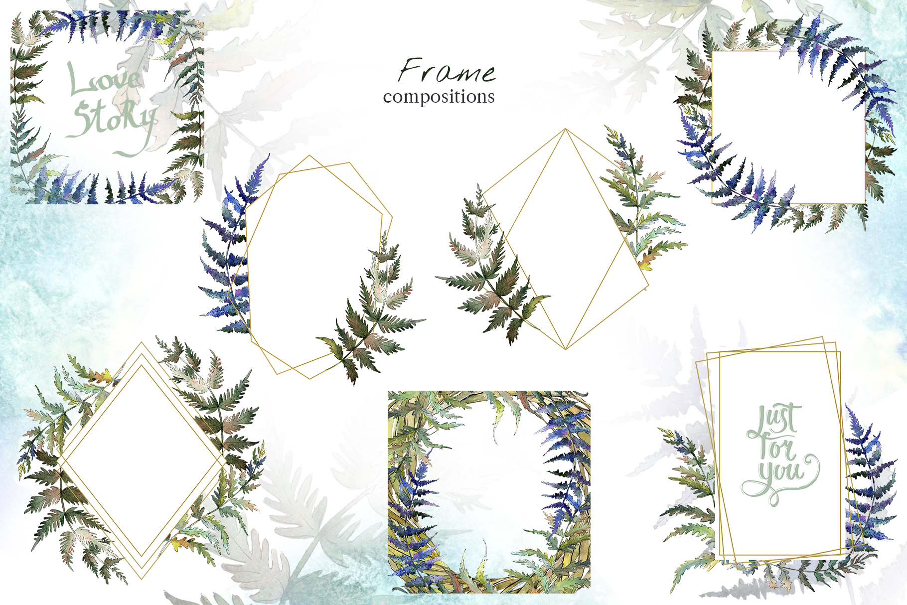 Fern leaf clipart watercolor png example image 4