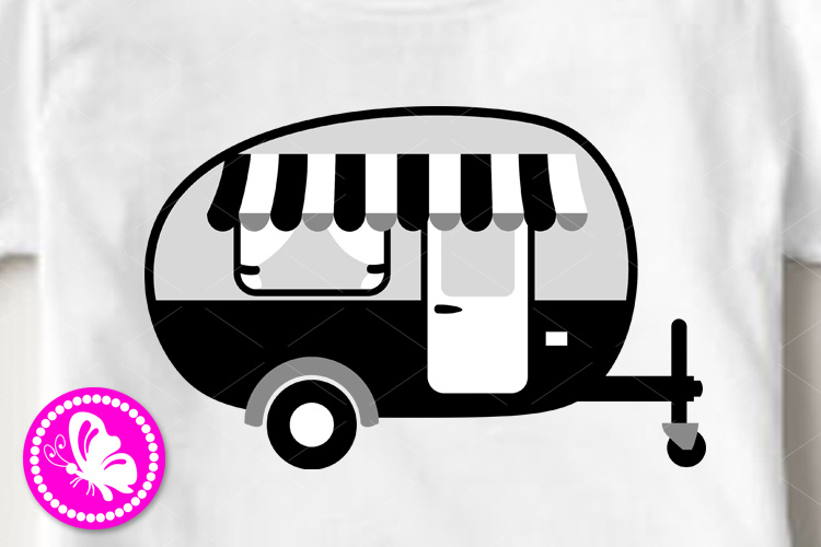 Camping trailer svg file Camper shirt art Black Gray print example image 1