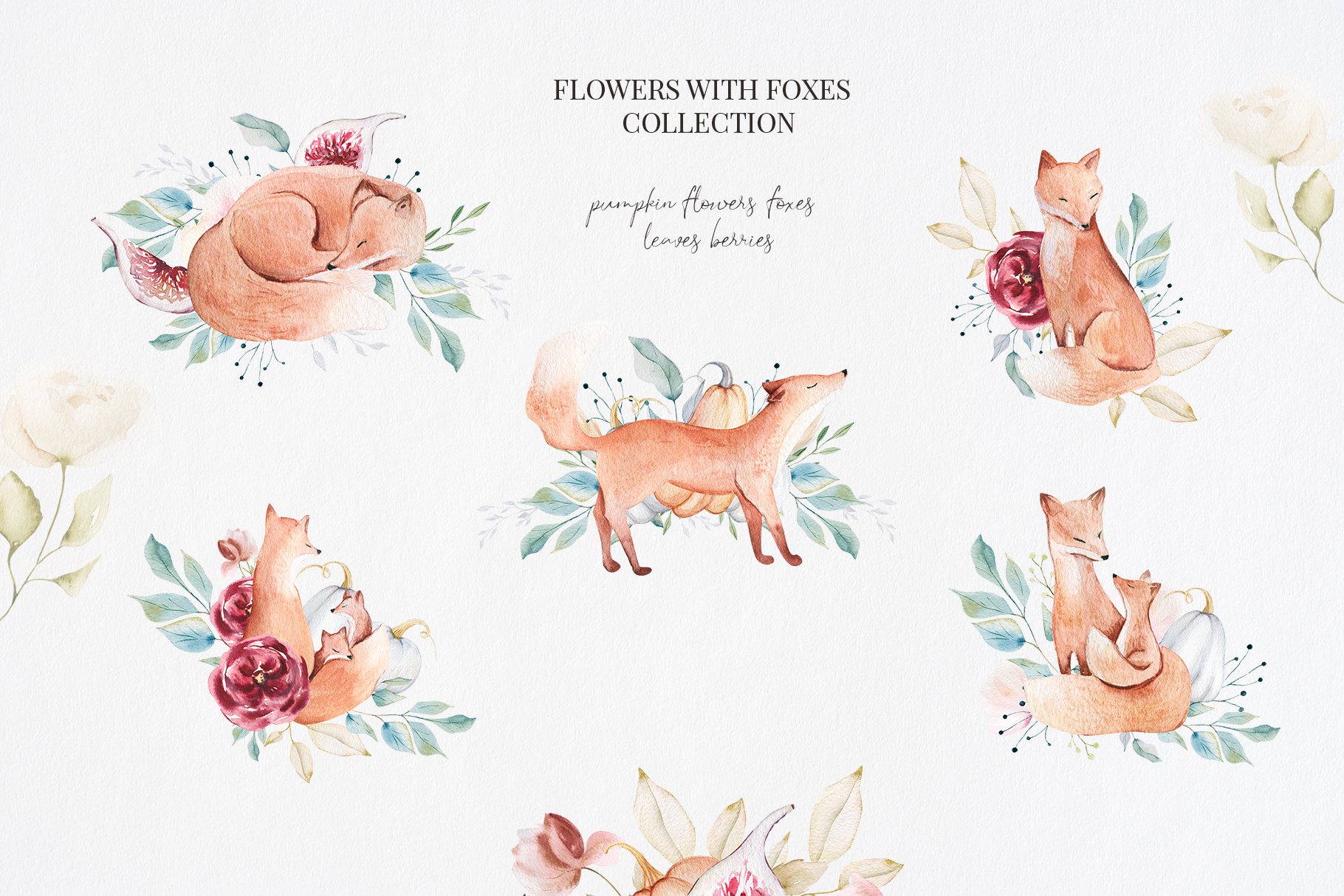 It's Autumn Story Collection, watercolor autumn fox, fall example image 3